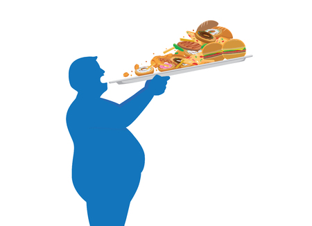 Fat man try to devour a lot of junk food in one time with lifting a tray. Illustration about overeating. Иллюстрация