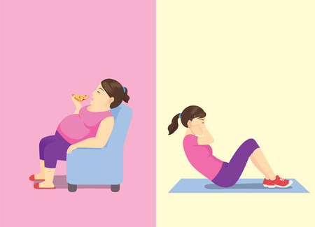 Fat woman eating pizza on sofa but slim woman doing sit up workout. Illustration about Difference activity and shape. Illusztráció