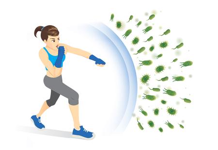 Gezonde vrouw weerspiegelt de aanval van bacteriën met ponsen. Concept illustratie over het stimuleren van immuniteit met lichaamsbeweging.