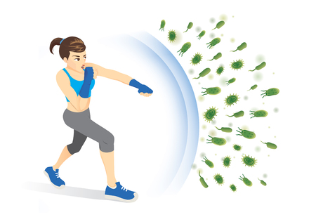 La donna in buona salute riflette l'attacco dei batteri con la perforazione. Illustrazione di concetto sull'immunità di spinta con l'esercizio.