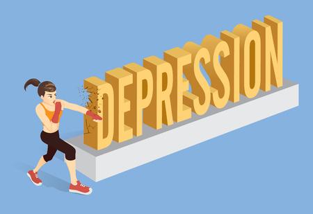 Gesunde Frau, die das Wort Depression mit dem Schlagen bricht. Konzeptionelle Illustration über die Behandlung von Geisteskrankheiten mit Training.