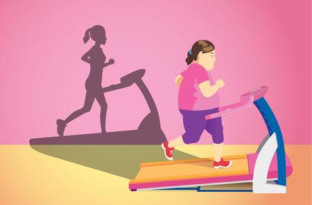 Mujer gorda trotando en cinta de correr eléctrica pero su sombra era delgada. Ilustración del concepto sobre perder peso.