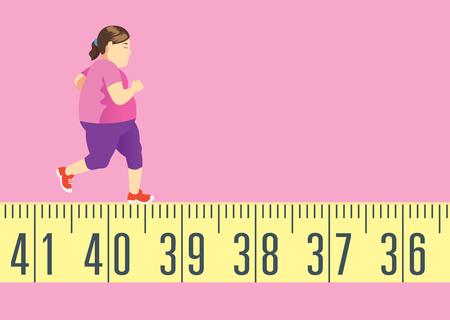 形を取得し、体重を減らすために巻尺で実行している太った女性。これは運動の概念です。