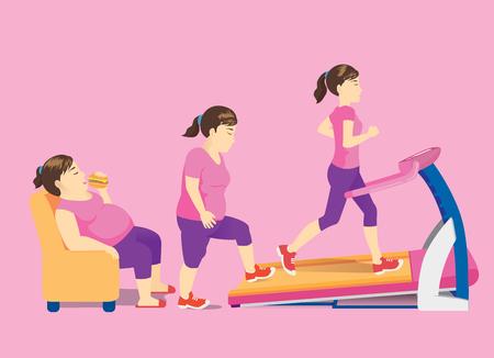소파에 뚱뚱한 여자는 디딜 방아 운동으로 운동을 위해 상승과 함께 그녀의 몸을 바꿉니다. 빠른 체중 감량에 대한 개념 그림.