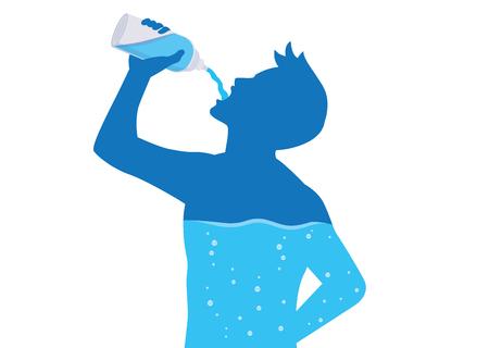Silhouette d'homme buvant de l'eau de la bouteille s'écouler dans le corps. Illustration sur un mode de vie sain. Vecteurs