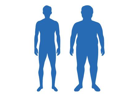 Silhouette des Unterschiedskörpers zwischen wohlgeformtem Mann und Fett. Illustration über Anatomie vergleichen.