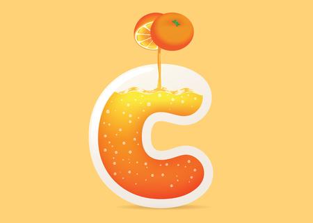 Füllen Sie Orangensaft in Glasflasche C Form. Illustration über Vitamin C aus Früchten.