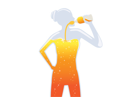 Woman drinking Orange Juice into her body. Illustration about healthy lifestyle.