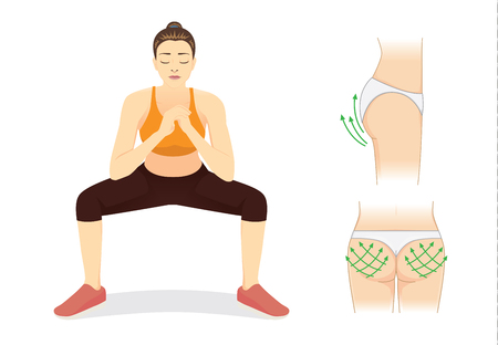 Healthy woman reduce fat for Perfect hip with squat workout. Illustration about beauty shape.