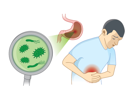 Mężczyzna cierpi na objaw bólu brzucha z powodu bakterii. Koncepcja ilustracja o higienie i zdrowiu.