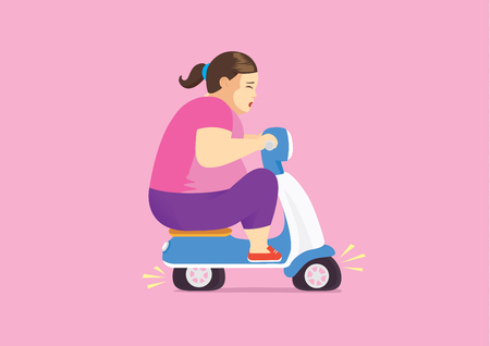 Fat woman on blue scooter flat tire because her too weight.  イラスト・ベクター素材