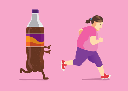 Fat woman run away from soft drink because she is on a diet. Concept illustration about lose weight.  イラスト・ベクター素材