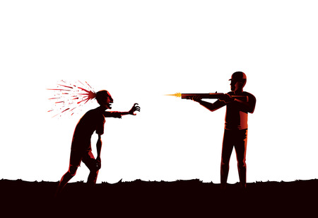 Silhouette of man killing zombie by shooting at head with rifle isolated on white background.