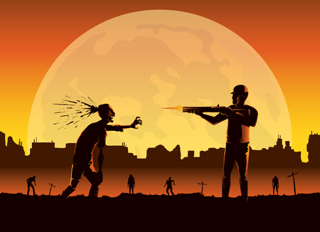 Silhouette of people killing zombie by shooting at head in full moon night on abandoned city background. Иллюстрация