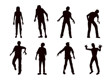 Vector zombie collection in silhouette style. Full body many action in front view. Illustration