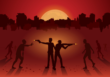 Silhouette of two man stand and fighting crowd zombie with handgun and rifle on ruined city background. Red Theme Illustration. Illustration