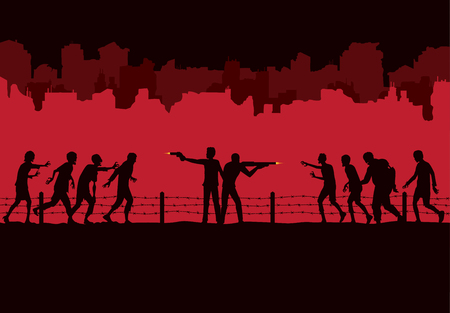 Silhouette of two man stand and fighting crowd zombie front of ruined city destroyed buildings background.
