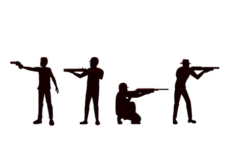 Silhouette of Man holding Gun in difference Shooting Position. Collection of vector people with weapon in side view