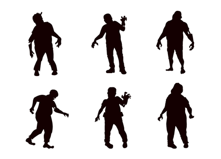 Bloody Fat Zombie collection in silhouette style. Full body and many action ideal for create to horror theme illustration.