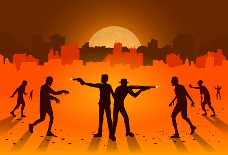 Silhouette of people stand and fighting crowd zombie with handgun and rifle on ruined city background. Illustration about orange theme and Holloween.