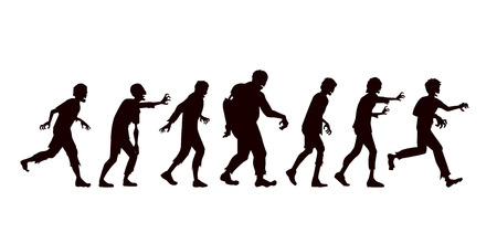 Silhouette Vector zombie group in side view walking on white background. Illustration