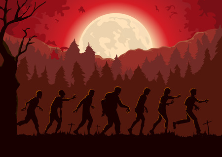Silhouette crowd of zombies walking out of graveyard in full moon night. Red Theme Illustration about Halloween.  イラスト・ベクター素材