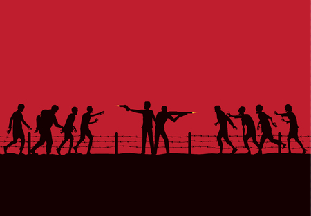 Silhouette of two man stand and fighting crowd zombie with handgun and rifle on red background. Illustration