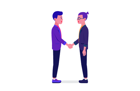 Businessman smile and shaking hands with partner in feeling happy isolated on white background. Illustration about business partnership.