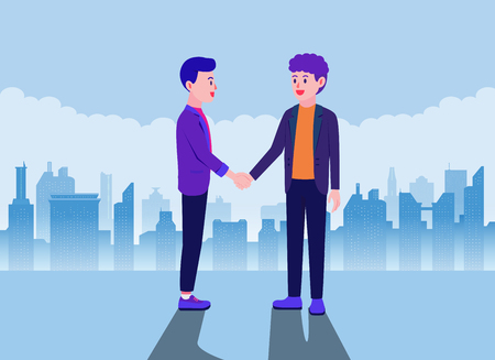 Business partner shaking hands on city background. Illustration about Agreement.