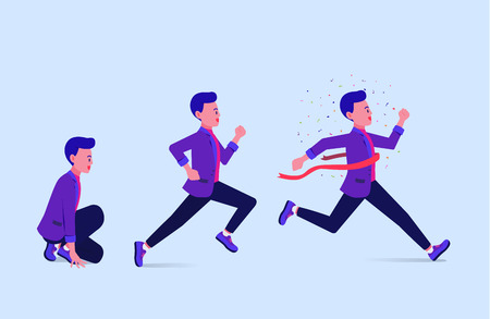 Step of businessman start and running to finish line. Business concept illustration about success.