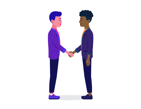 Businessman shaking hands with a man have different Skin color on white background. Illustration about business contract with another nationalist.