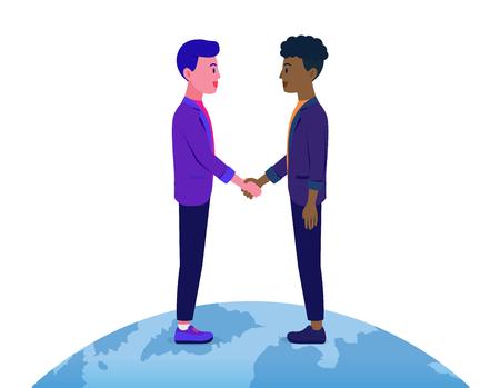 Un homme d'affaires serrant la main d'un homme a une couleur de peau différente sur le monde. Illustration sur le contrat commercial avec un autre nationaliste. Vecteurs