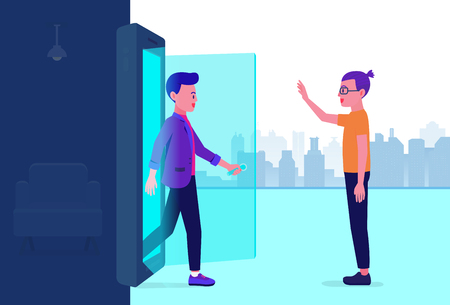 Man opening door and walking out of mobile and found his friend. Illustration about communications technology.