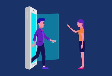Man opening door and walking out of mobile for meet a woman. Illustration about online friend.