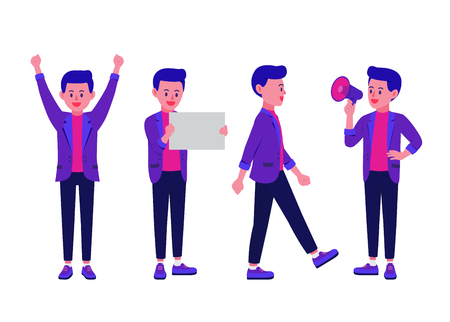 Businessman stand with arms akimbo and using Megaphone and walking and expression other in one collection. Illustration about people character for infographic and animation or other work.