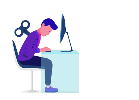 Businessman with wind-up key on back stting front computer and feeling low energy. Concept Illustration about tired with working.