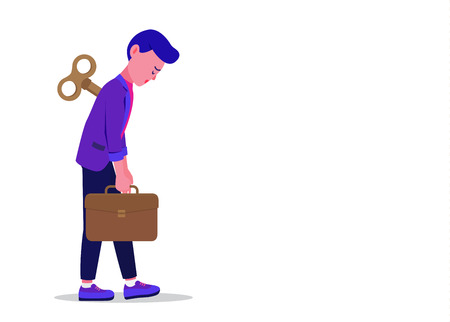 Businessman holding briefcase with wind-up key on back. He feeling tired from working. Illustration about losing a job.