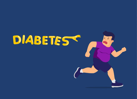 Diabetes follow up fat man and reaching hand for catch him. Illustration about exercise and health care.