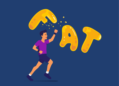 Man running and punching a fat wording for destroy. Illustration about exercise reduce fatty.