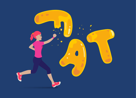 Woman run to crash a fat wording for breaking. Illustration about workout reduce fatty.