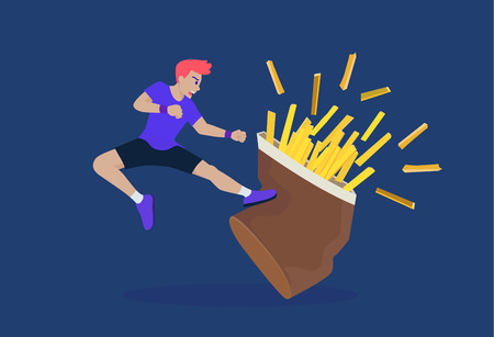 Sport Man jump up and kick French fries. He want to win and stop eatting junk food.  イラスト・ベクター素材