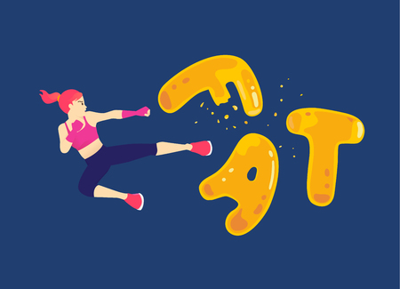 Woman jump up and kick a fat wording for breaking. Illustration about workout reduce fatty.