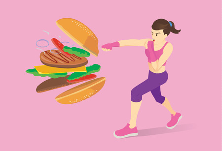 Healthy woman jump up and kick a hamburger made all ingredient spreading out. Illustration about diet and workout. Иллюстрация