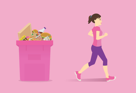 Healthy woman run passing bin full of fast food. Concept Illustration about stop junk food. Çizim