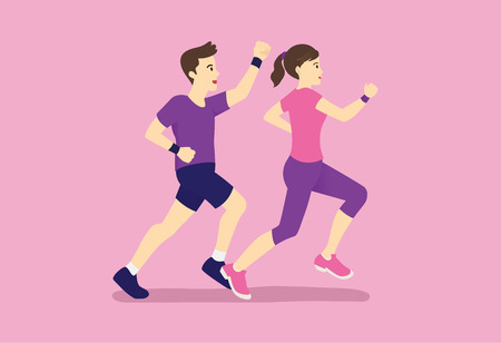 Man and women jogging together. Illustration about exercise with fan.
