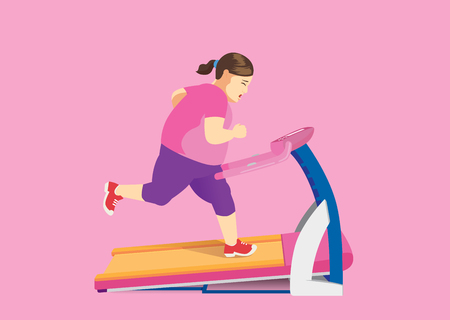 Fat woman trying to lose fat with running on Electric Treadmill.