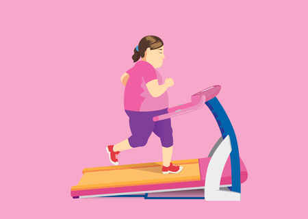 Fat woman diet with running on Electric Treadmill. Illustration about exercise.