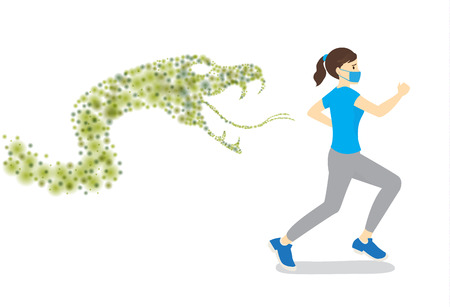 Woman wearing hygienic mask run away from bacteria group in Snake shape. Concept illustration about bacteria in the air.