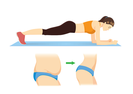 Woman reduce fat belly to slim with doing Plank exercise on blue mat. Illustration about workout for good shape.