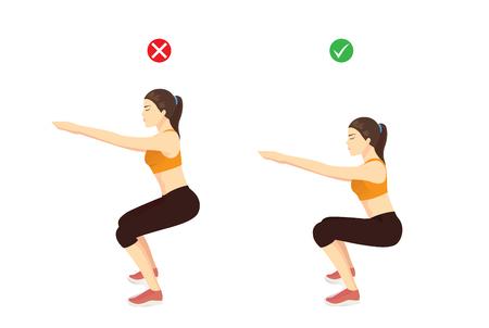 Mujer haciendo la posición correcta del ejercicio de sentadilla con aire y mal para comparar. Ilustración sobre la guía de entrenamiento.
